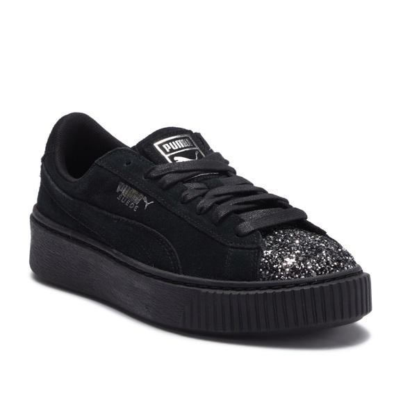 Puma Black Suede Glitter Toe Platform